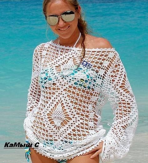 blusa tejida blanca