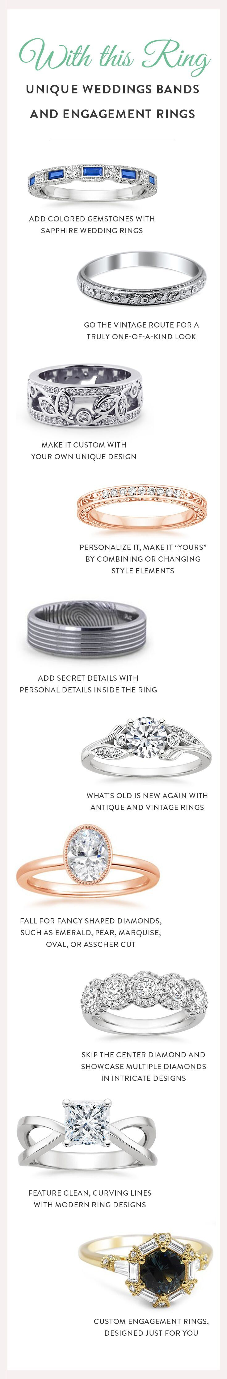You can make a one-of-a-kind choice that is truly everlasting by selecting a unique wedding ring (and a unique engagement ring, if you don't already have one). While a wedding only lasts for one day, your marriage—and a unique engagement ring or wedding band—will last a lifetime.  Here are a few ideas about how to make your rings as special as you are.
