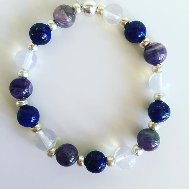 ♑️ Capricorn bracelet Vol. 2: Lapis Lazuli, Amethyst, Moonstone, Czech rocailles, Silver Price EUR 20 (plus EUR 4 for international registered shipping, and EUR 4 for optional gift package). For your personal bracelet, contact me on e-mail in bio.  #bracelet #bracelets #semipreciousstones #capricorn #zodiac #sign #moonstone #lapislazuli #amethyst #silver #armcandy #armparty #jewellery #jewelry #jewellerymaking #jewellerybrand #jewellerydesign #czechbrand #ombljewellery #dowhatyoulove