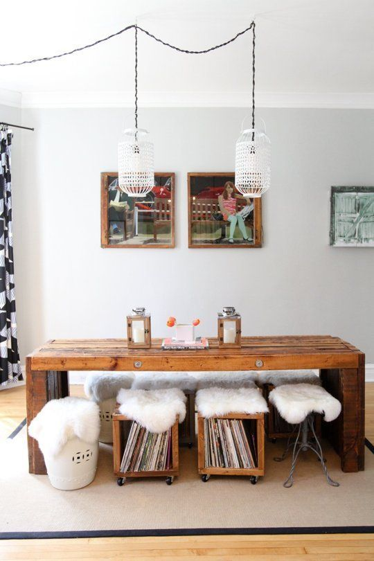 tiny house decorating inspiration - custom storage stools to hold records. great idea for dining room seating DIY.