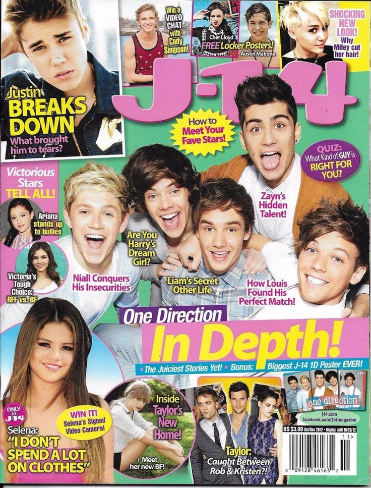J-14 magazine One Direction Justin Bieber Selena Gomez Taylor Swift Miley Cyrus