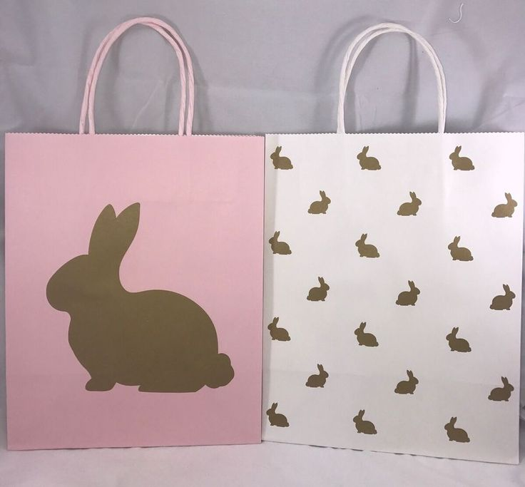 12 best greeting cards stationary images on pinterest greeting celebrate it easter pink and white gold bunnies medium gift paper bags new negle Images