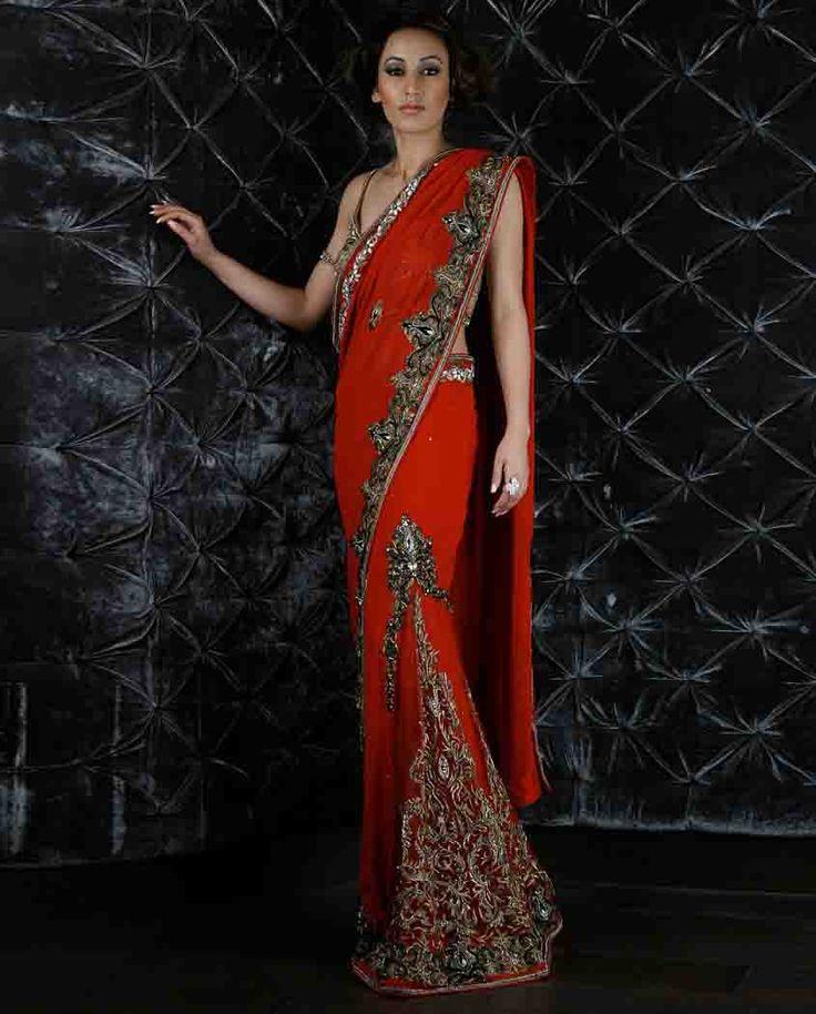 Red Embroidered lehenga Sari