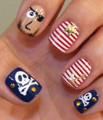 DIY halloween nails: DIY Halloween nail art : Pirate Nails