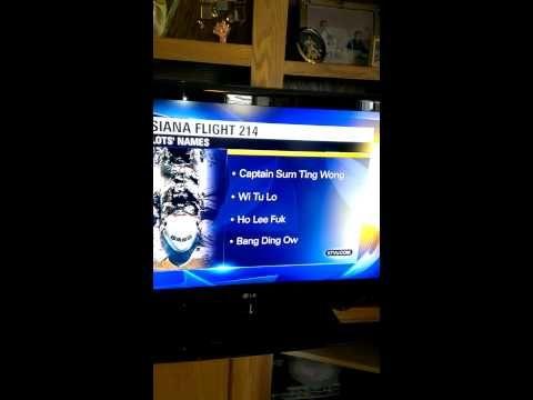 KTVU Flight 214 Fail (Original) -  San Francisco news channel gets Asiana pilots' names badly, badly, badly wrong