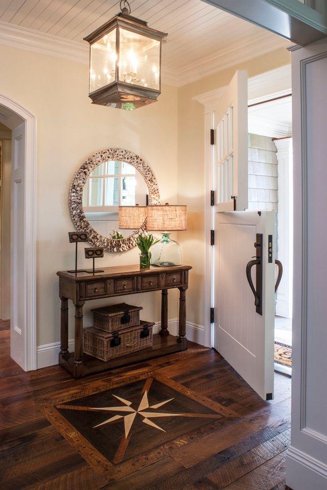Front Rooms Designs: Beach Style Entryway With Rustic Wood Floors, Split Front