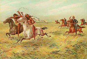 cherokee the lost tribe   An 1899 chromolithograph of US cavalry pursuing Native Americans ...