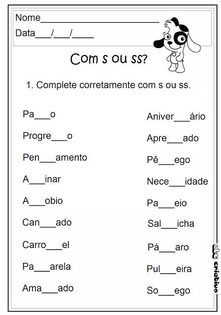 ATIVIDADES DE EDUCAÇÃO INFANTIL  E MUSICALIZAÇÃO INFANTIL: Atividades com s e ss