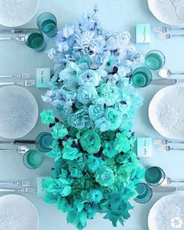 shades of turquoise floral centerpiece