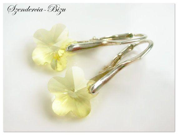 Silver earrings Swarovski Flower Flower 14mm Jonquil Flower