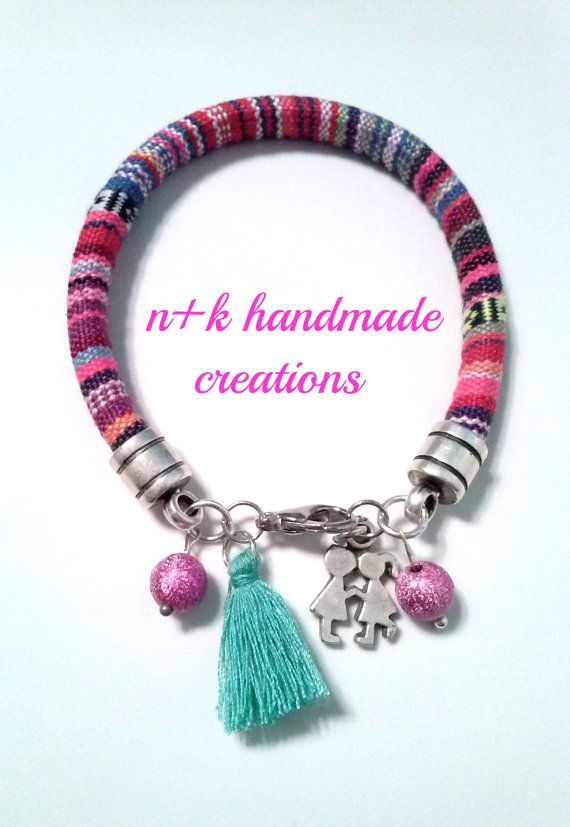 Handmade ethnic bracelet with cute silver by thenkcreations
