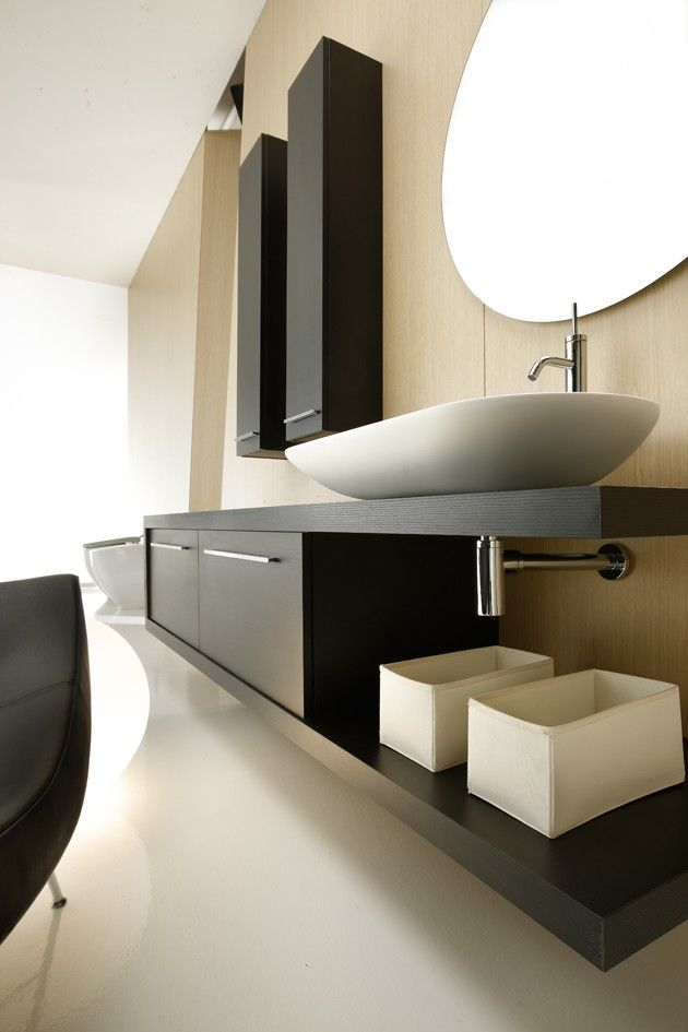 Minimalist Bathroom // high contrast with black counter and white sink                                                                                                                                                     More