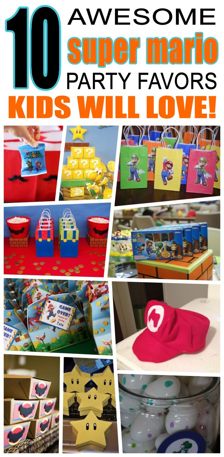 Great super mario party favors kids will love. Fun and cool super mario birthday party favor ideas for children. Easy goody bags, treat bags, gifts and more for boys and girls. Get the best super mario birthday party favors any child would love to take home. Loot bags, loot boxes, goodie bags, candy and more for super mario party celebrations.