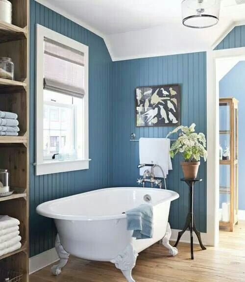 Beautiful blue beadboard bathroom bathroom remodel for Blue white bathroom ideas