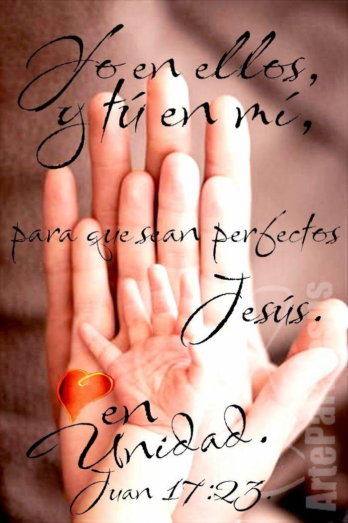 Juan 17:23 Yo en ellos, y tú en mí, para que sean perfectos en unidad, para que el mundo conozca que tú me enviaste, y que los has amado a ellos como también a mí me has amado. ♔