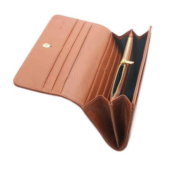 Geniune Leather Zip Wallet for Woman  Inside and Outside