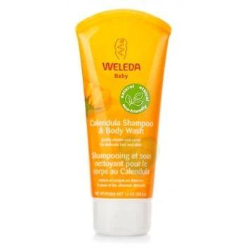 WELEDA      BABY CALENDULA Bagnodoccia e shampoo per bambini, con delicati tensioattivi ecologici ed oli vegetali. Non brucia gli occhi. Non contiene frumento o derivati.