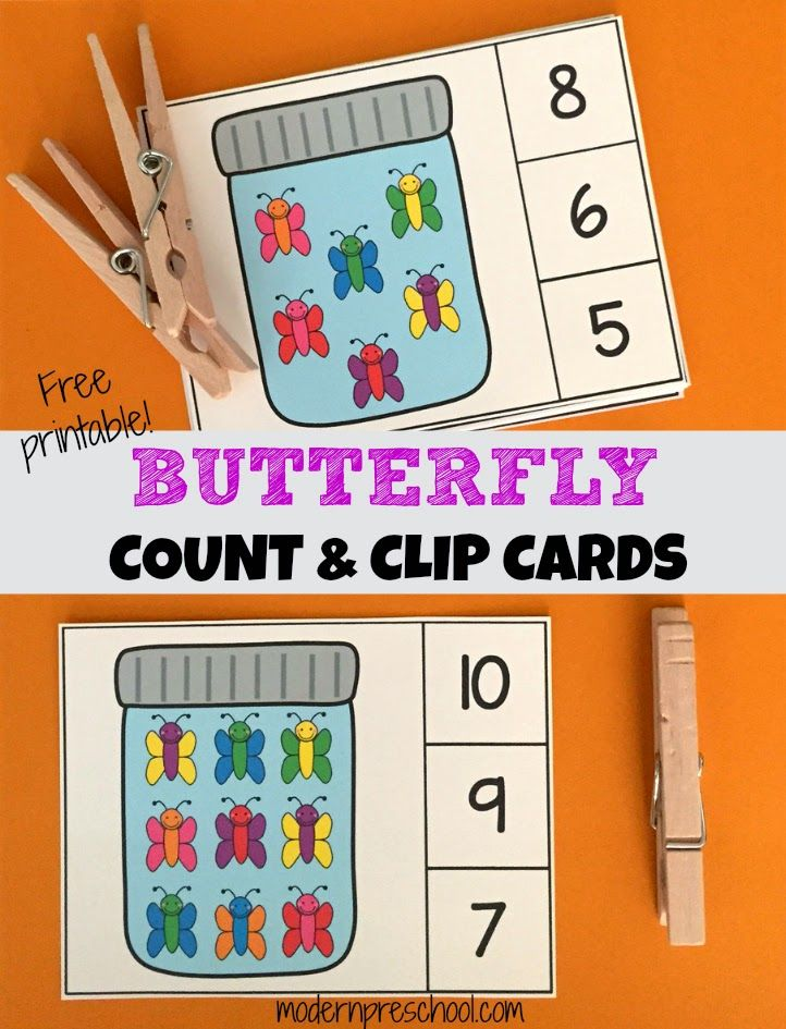 Printable butterfly count & clip cards to practice 1:1 counting and fine motor skills from Modern Preschool