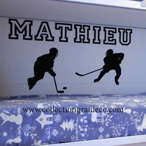 Nom personnalisé + Joueurs de hockey - Stickers muraux
