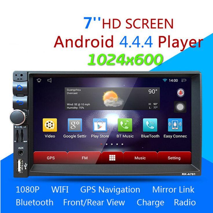 2 din android 4.44 mobil dvd player gps + wifi bluetooth radio + kontrol roda kemudi 1.6g dual-core stereo mobil multimedia player