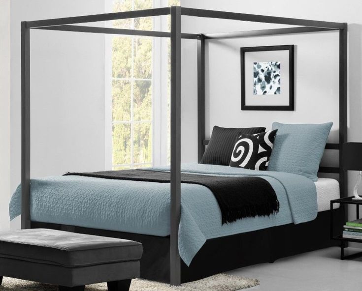 Modern Grey Queen Canopy Bed Sturdy Metal Bedroom Decor Durable Furniture