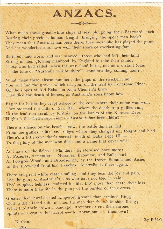 THE ANZAC SONG. ORIGINAL SCANNED COPY. Given to the troops. This belongs to my late grandfather Hubert Welsh. 9th Battalion.