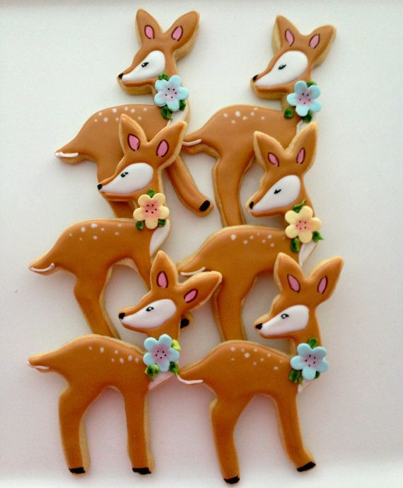 Pictures Of Decorated Christmas Sugar Cookies: 12 Vegan Fawn Sugar Cookies By CompassionateCake On Etsy