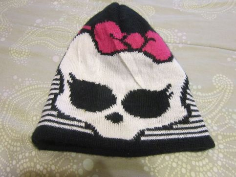 Girls winter beanie hat Pink, black, white striped with skull & bow Monster High brand  Similar items retail $8-20