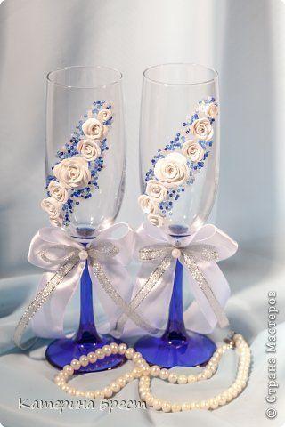 Декор предметов Свадьба Лепка Роспись Свадебные бокалы Бисер Бусинки Глина