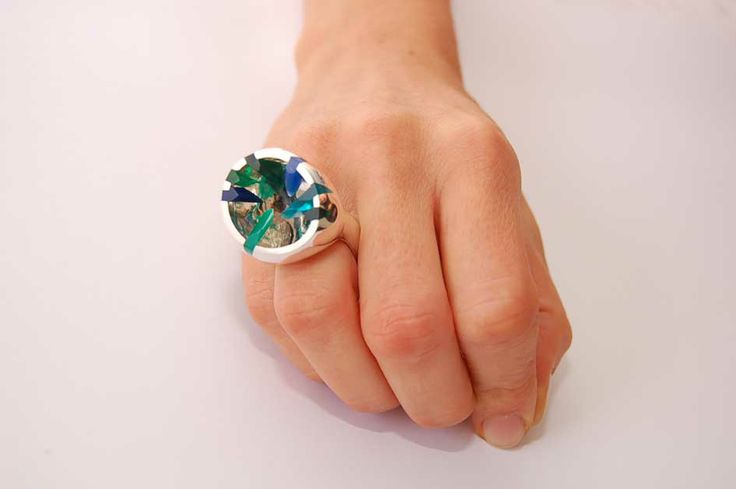 One of my big loves. Inspired by shades of ocean. Ring in silver and perspex - Ocean Memories