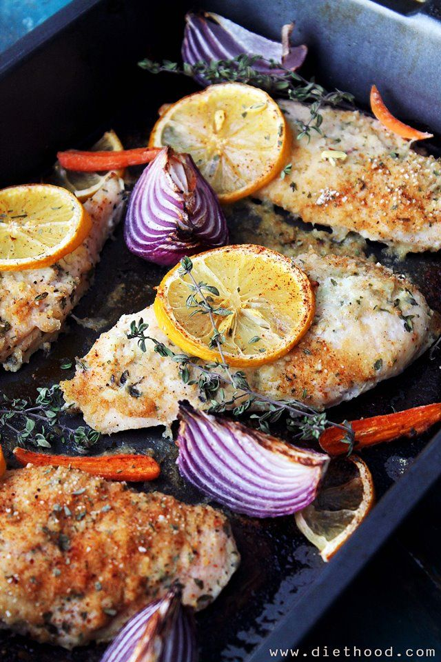 Baked chicken marinated in a yogurt mixture with garlic and thyme.