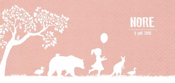 Geboortekaartje Nore - Pimpelpluis - https://www.facebook.com/pages/Pimpelpluis/188675421305550?ref=hl (# meisje - dieren - beer - eend - kangoeroe - ballon - boom - silhouet - lief - origineel)