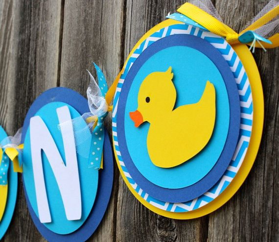 Rubber Duckie Baby Shower Banner, ITu0027S A BOY Or Rubber Ducky NAME Banner In  Yellow And Blue And Turquoise Chevron For Baby Shower Or Birthda