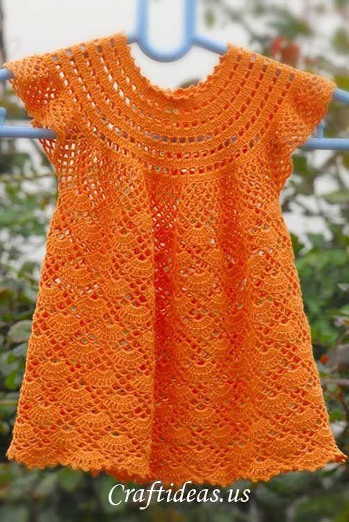 Crochet patterns free: Beautiful Dress In Crochet Yarn Orange For Girls