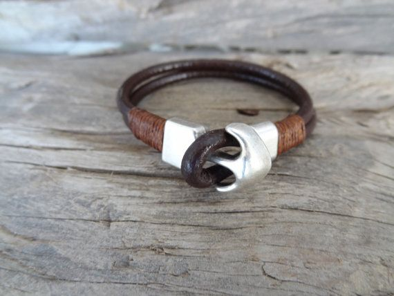 Men's Chocolate Brown Bracelet, Brown Leather Bracelet, Silver Anchor, Nautical Bracelet, Gifts for Boyfriends, Gift for Girlfriends