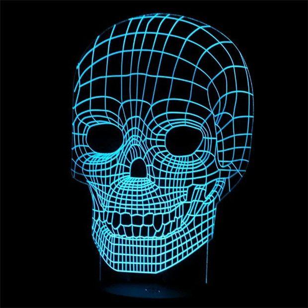 Increíble Ilusión 3D Skull Light LED Lámpara de Mesa Luz de La Noche de 7 Diverso Color es Ajustable (cráneo) de Halloween Año Nuevo Regalo de Los Cabritos