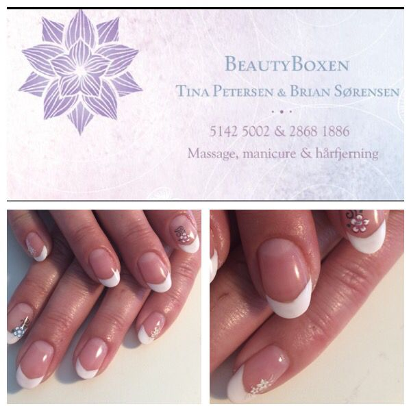 CND Shellac - Perfect french with Cream Puff - free-hand nailart