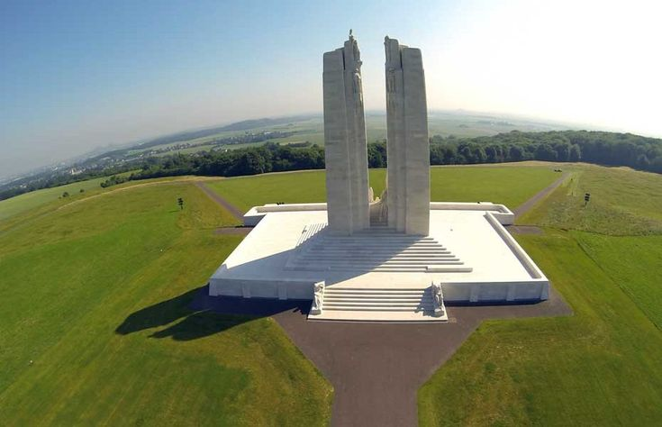 Canadian National Vimy Memorial. An aerial picture of the Canadian National Vimy Memorial which is dedicated to the 3,598 Canadian soldiers who died in the Vimy battle in 1917 during the First World War. The monument was designed by Canadian architect Walter Seymour Allward. A total 3,598 Canadian Corps troops were killed and 7,004 were wounded over four days of fighting.