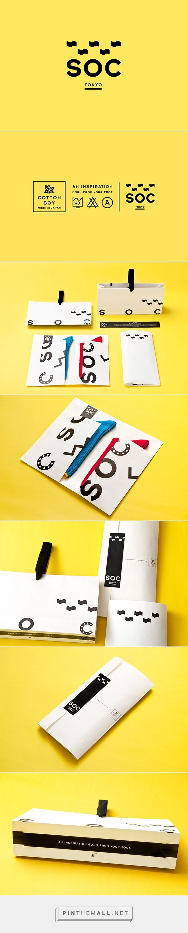 SOC TOKYO on Packaging Design Served by Keiko Akatsuka curated by Packaging PD. The packaging has been designed so that it is able to contain socks of all sizes and display the different styles, and was created according to the art of traditional Japanese folding, so that it may be opened without destroying the packaging.
