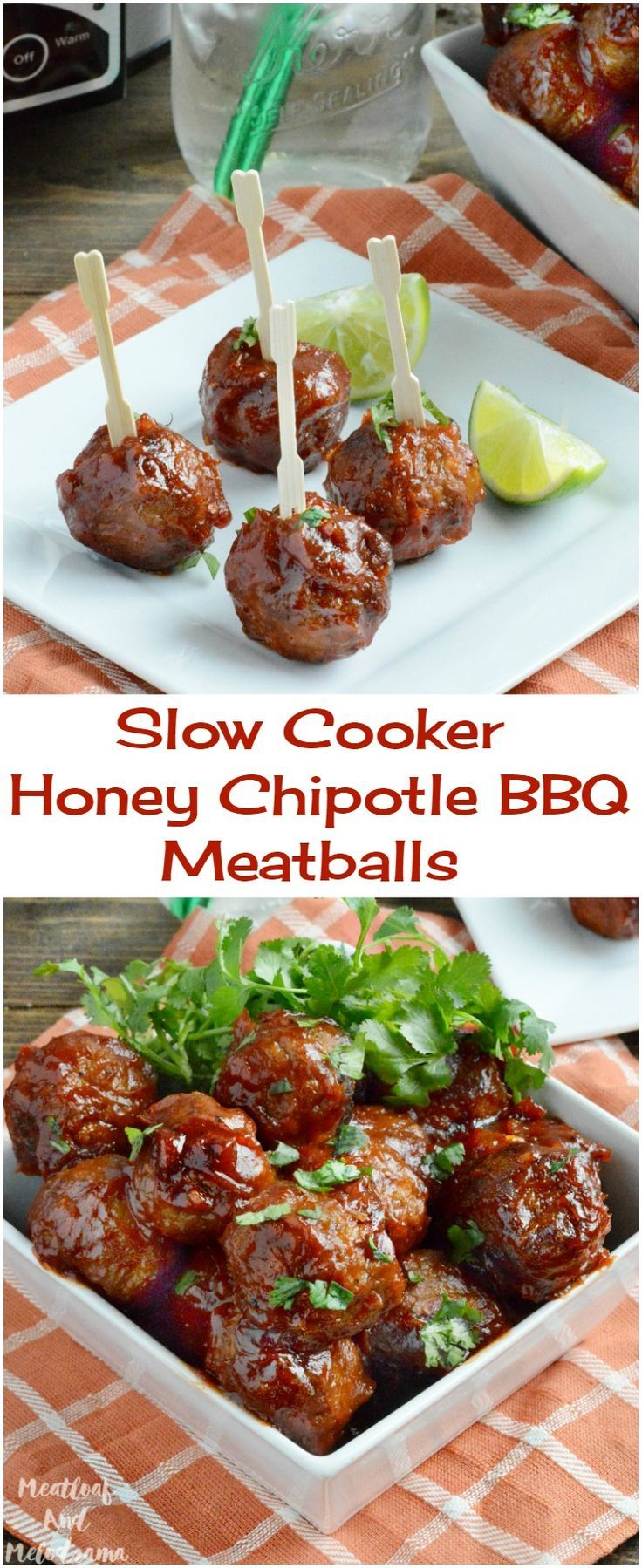 Slow Cooker Honey Chipotle BBQ Meatballs -  an easy sweet and spicy appetizer that's perfect for the big game or any day. Let your Crock-Pot do the work! ad #VivaLaMorena