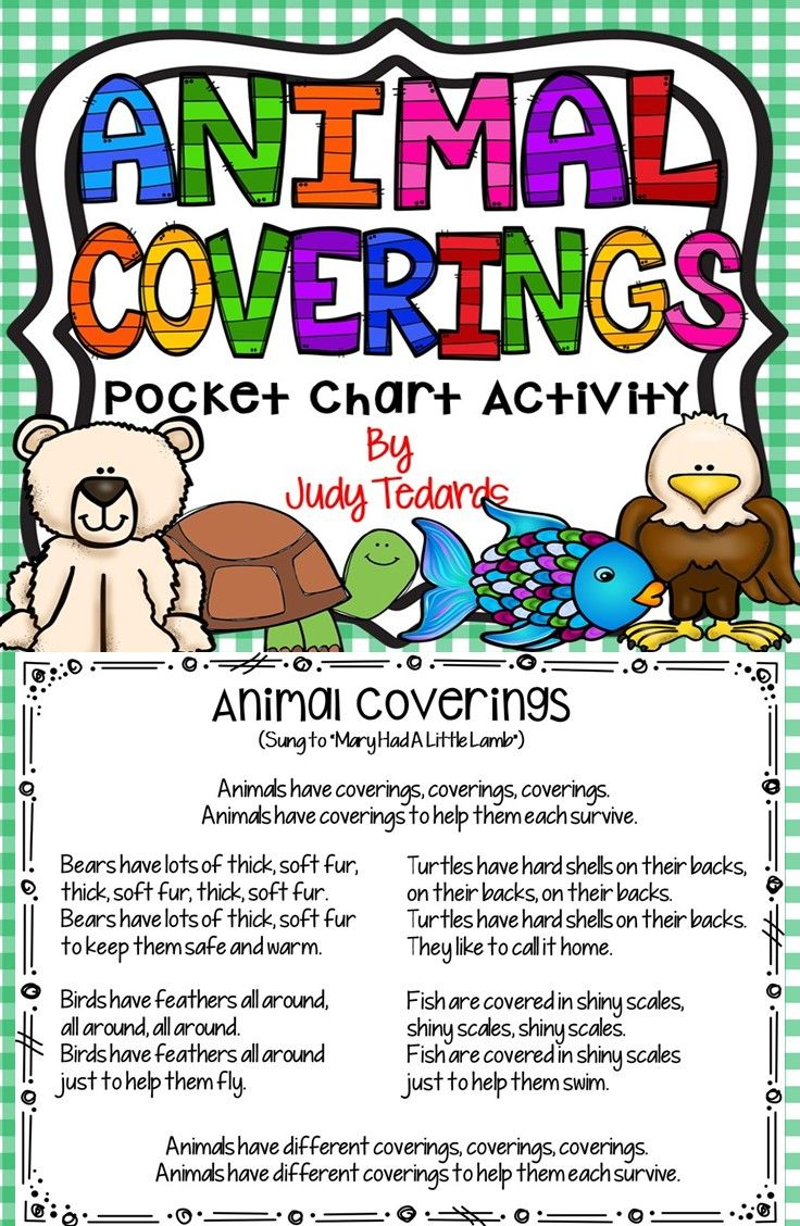 """Kids love pocket chart activities and they will love Animal Coverings Poem/Song. If you are studying about animals, this will be a good addition to your unit of study. The song is sung to """"Mary Had A Little Lamb"""" and your students will learn how animals have different """"coverings"""" that help them survive in their environments. Everything you need is here. Just copy, cut and place in your pocket chart."""