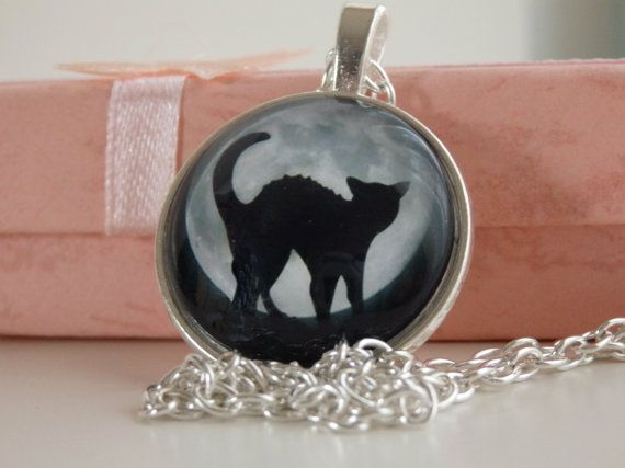 Cat at Full Moon Pendant Charm Necklace Jewelry by LeFuCycliste