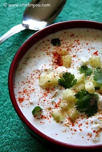 Indian Cucumber Raita Recipe (Yogurt sauce) (cucumbers-buang biji and onions (same amount), daun ketumbar sikit, cili hijau dan cili padi di hiris, seasoning: cuka, mayonaisse-sikit utk pekatkan, madu sikit, yoghurt,garam)