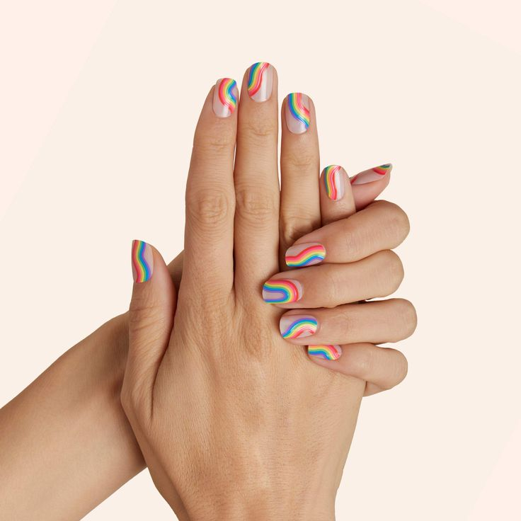 It's time to get groovy with this retro, wavy rainbow mani. The curvy rainbow motif pops on a sheer background. Extra row: Show off those curves with full rainbows running the base of your nail. Design by Jonathan Van Ness (@jvn) and Mei (@nailsbymei) for the JVNxMei Pride Capsule Finish: GlossyOpacity: Sheer Cute Acrylic Nails, Acrylic Nail Designs, Nail Art Designs, Stylish Nails, Trendy Nails, Bee Nails, Stick On Nails, Nail Tattoo, Funky Nails