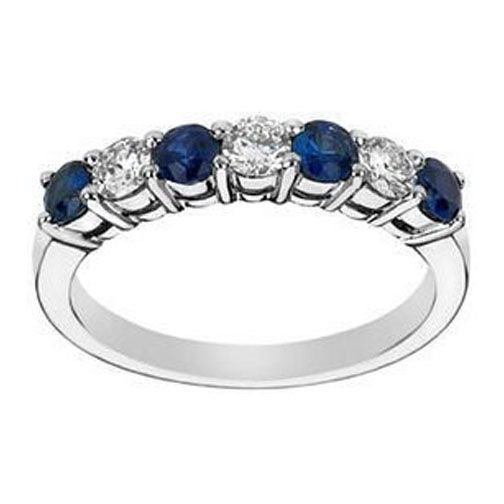 Seven Stone Round Diamonds & Blue Sapphires Wedding Band 0.35 tcw. In 14K White Gold... I love this one!!