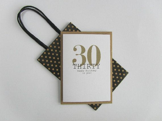 30th Birthday card. Happy 30th Birthday. Gold and black birthday card. Modern typography age birthday card. Recycled birthday card 30 today.