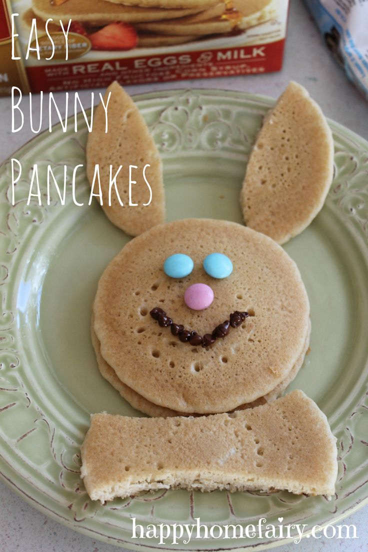 am going to make our homemade pancakes instead of instant - bunny pancakes at happyhomefairy.com