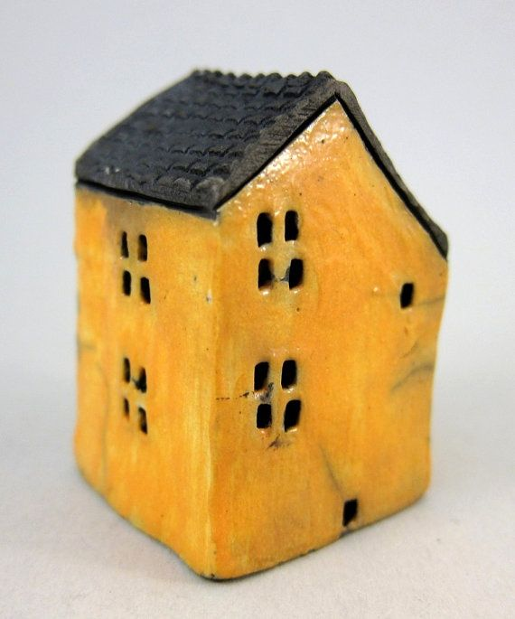 Yellow Cottage...Raku Fired Miniature House by elukka on Etsy, €18.00