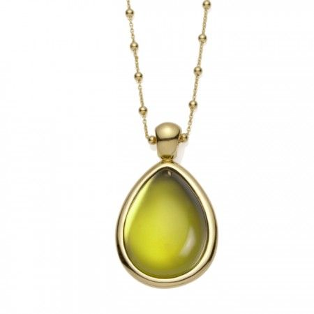 Chartreuse - Glass Cabochon Necklace.