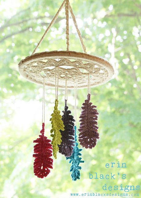"""Ravelry: Dreaming of Feathers Dreamcatcher Inspired 10"""" diameter Mobile and Wall Hanging (HomDec007) pattern by Erin Black"""